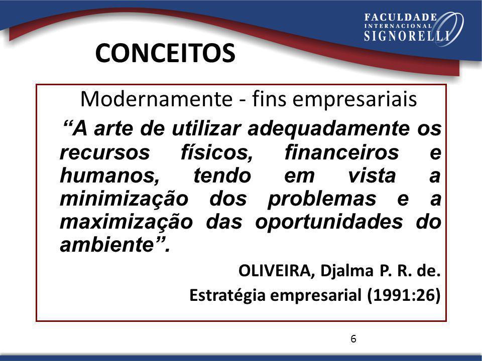6 CONCEITOS Modernamente - fins empresariais A arte de utilizar adequadamente os recursos físicos, financeiros e humanos, tendo em vista a minimização dos problemas e a maximização das oportunidades do ambiente.