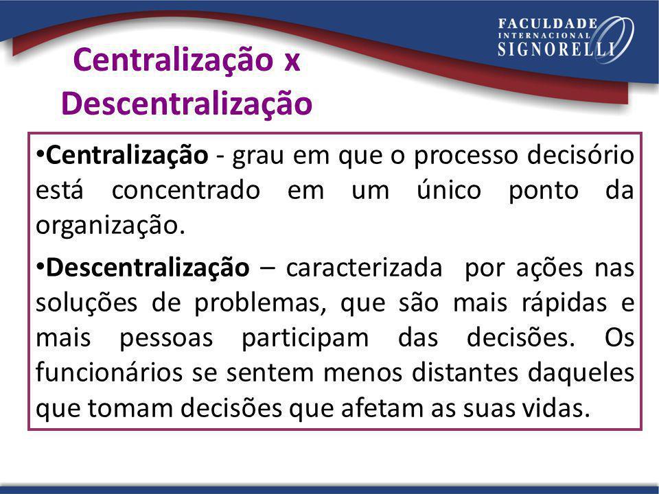 Centralização x Descentralização Centralização - grau em que o processo decisório está concentrado em um único ponto da organização.