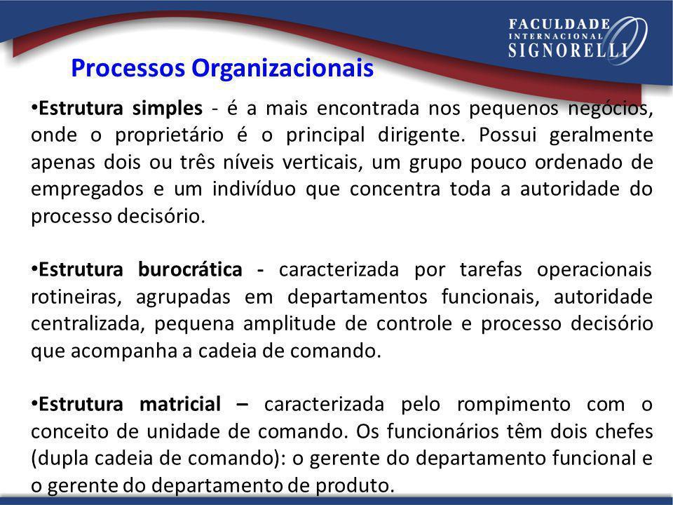 Processos Organizacionais Estrutura simples - é a mais encontrada nos pequenos negócios, onde o proprietário é o principal dirigente.