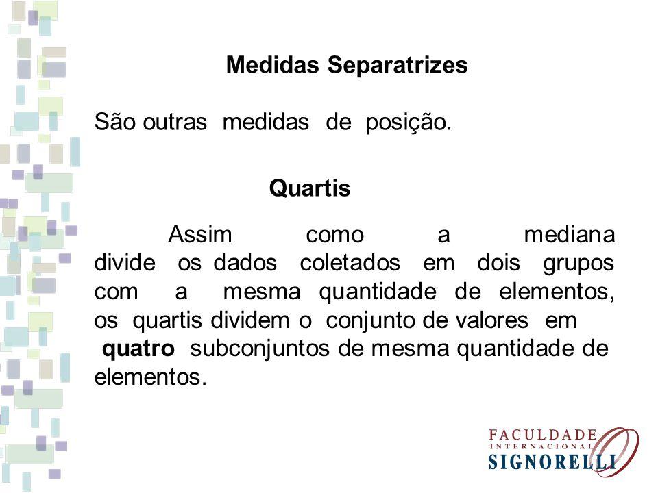 Medidas Separatrizes São outras medidas de posição. Quartis Assim como a mediana divide os dados coletados em dois grupos com a mesma quantidade de el