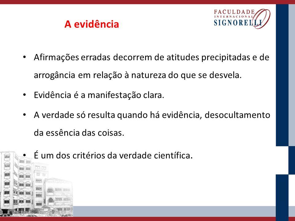 A evidência Afirmações erradas decorrem de atitudes precipitadas e de arrogância em relação à natureza do que se desvela. Evidência é a manifestação c