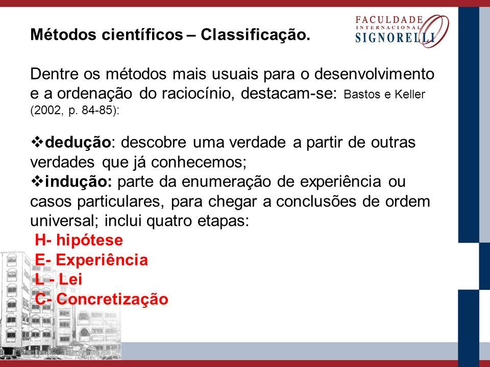 Métodos científicos – Classificação. Dentre os métodos mais usuais para o desenvolvimento e a ordenação do raciocínio, destacam-se: Bastos e Keller (2