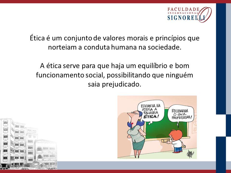 Ética é um conjunto de valores morais e princípios que norteiam a conduta humana na sociedade. A ética serve para que haja um equilíbrio e bom funcion