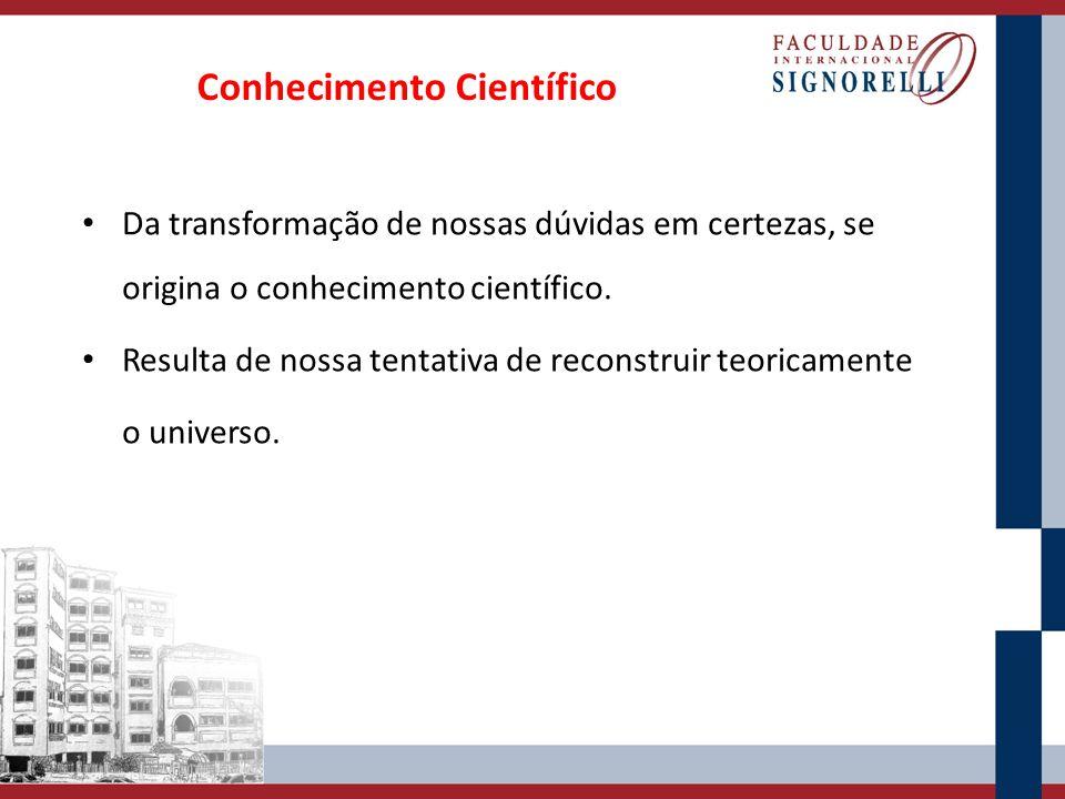 Conhecimento Científico Da transformação de nossas dúvidas em certezas, se origina o conhecimento científico.