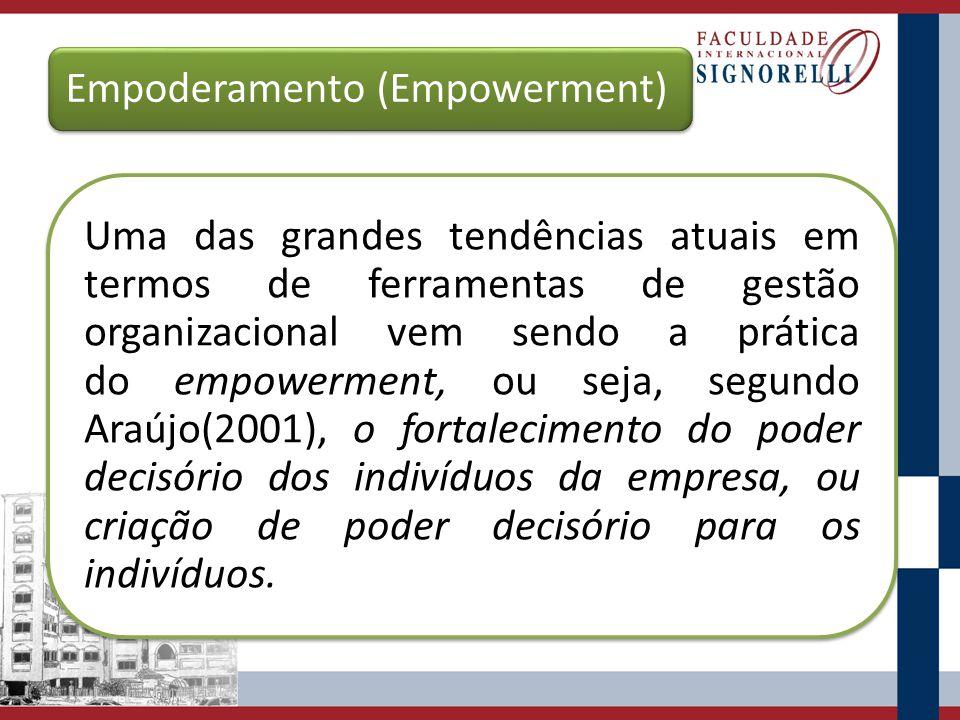 Empoderamento (Empowerment) Uma das grandes tendências atuais em termos de ferramentas de gestão organizacional vem sendo a prática do empowerment, ou