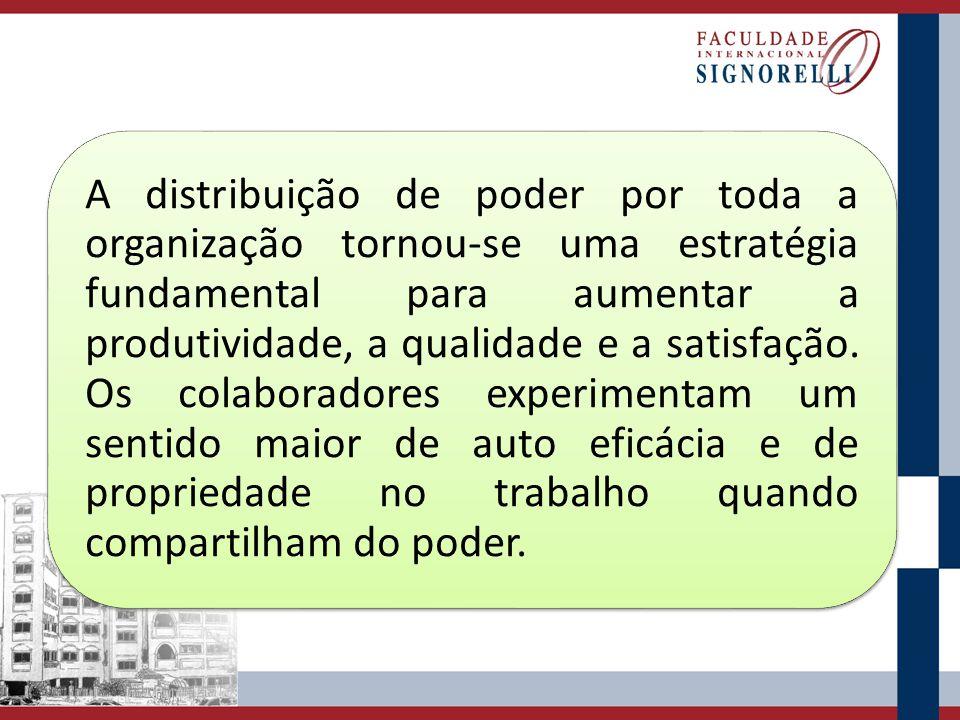 A distribuição de poder por toda a organização tornou-se uma estratégia fundamental para aumentar a produtividade, a qualidade e a satisfação. Os cola