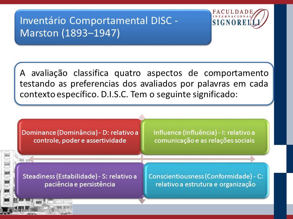 Inventário Comportamental DISC - Marston (1893–1947) A avaliação classifica quatro aspectos de comportamento testando as preferencias dos avaliados po