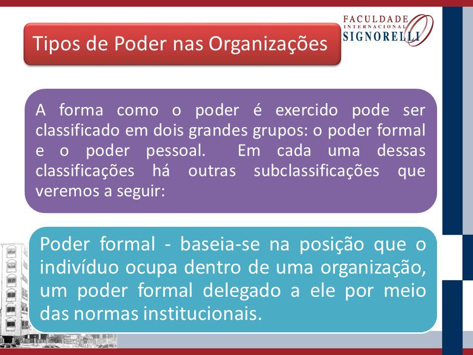 Tipos de Poder nas Organizações A forma como o poder é exercido pode ser classificado em dois grandes grupos: o poder formal e o poder pessoal. Em cad