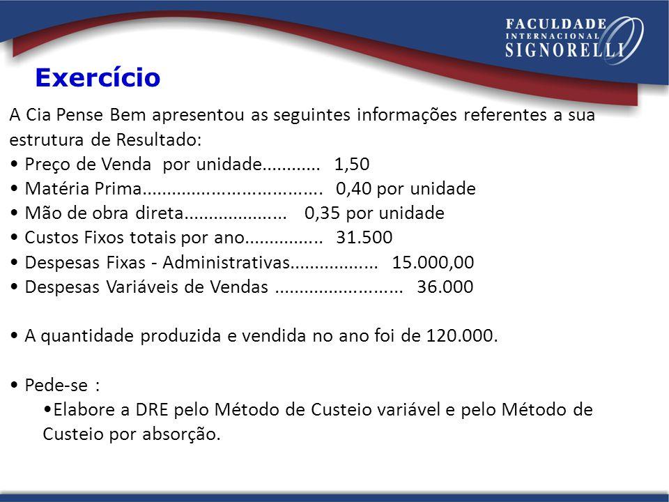 A Cia Pense Bem apresentou as seguintes informações referentes a sua estrutura de Resultado: Preço de Venda por unidade............