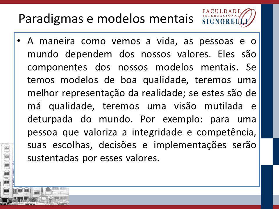 Os modelos mentais são formados por valores.