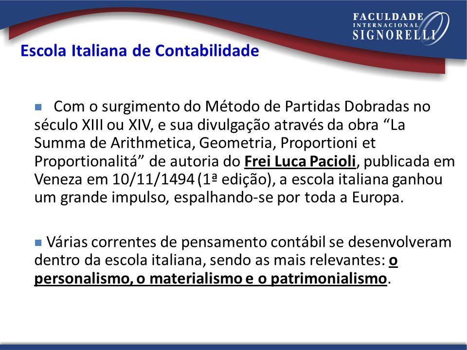 Escola Italiana de Contabilidade Com o surgimento do Método de Partidas Dobradas no século XIII ou XIV, e sua divulgação através da obra La Summa de A