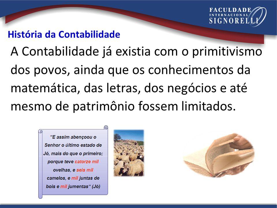A Contabilidade já existia com o primitivismo dos povos, ainda que os conhecimentos da matemática, das letras, dos negócios e até mesmo de patrimônio
