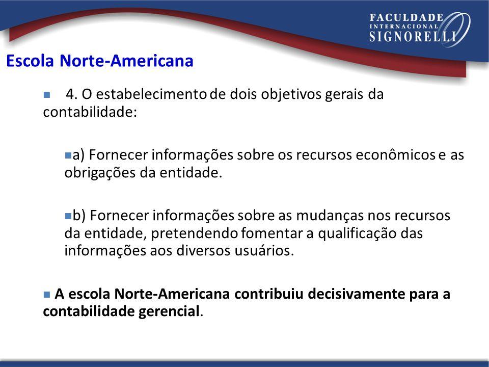 Escola Norte-Americana 4. O estabelecimento de dois objetivos gerais da contabilidade: a) Fornecer informações sobre os recursos econômicos e as obrig