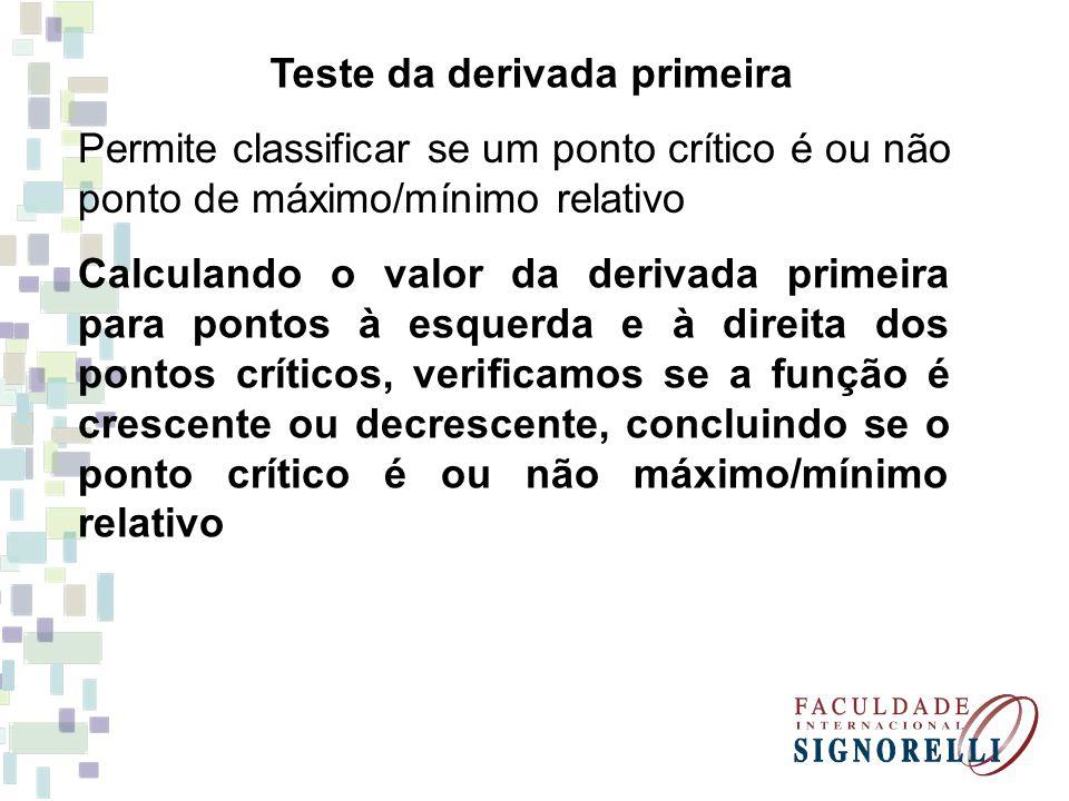 Teste da derivada primeira Permite classificar se um ponto crítico é ou não ponto de máximo/mínimo relativo Calculando o valor da derivada primeira pa