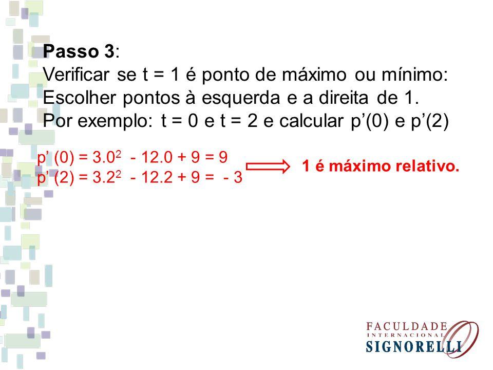Passo 3: Verificar se t = 1 é ponto de máximo ou mínimo: Escolher pontos à esquerda e a direita de 1. Por exemplo: t = 0 e t = 2 e calcular p(0) e p(2