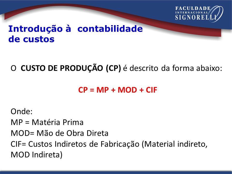 O CUSTO DE PRODUÇÃO (CP) é descrito da forma abaixo: CP = MP + MOD + CIF Onde: MP = Matéria Prima MOD= Mão de Obra Direta CIF= Custos Indiretos de Fab