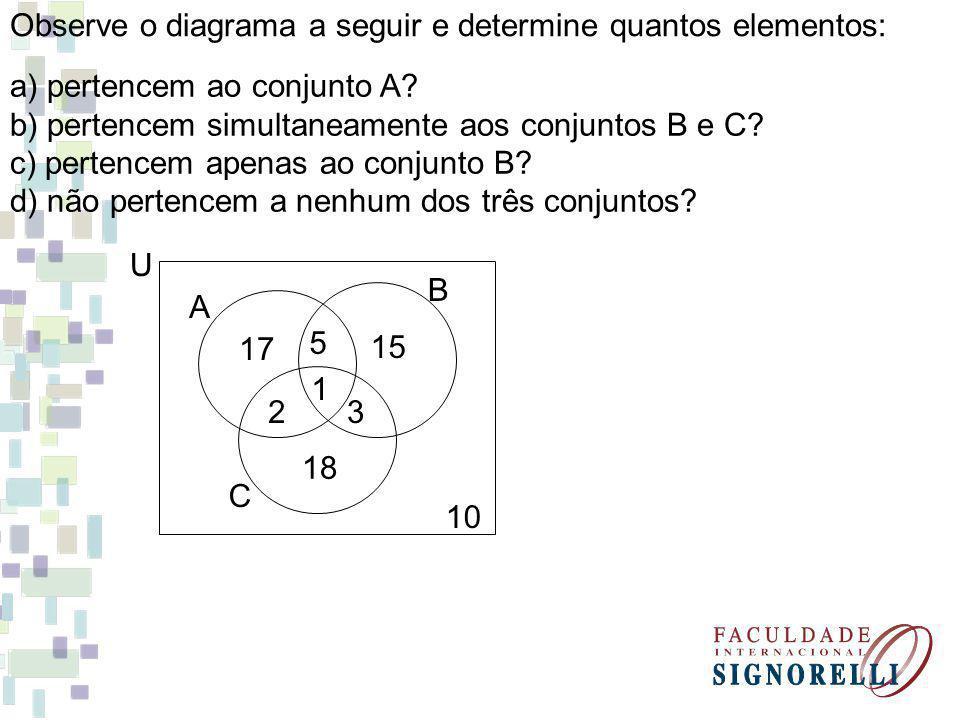 Observe o diagrama a seguir e determine quantos elementos: a) pertencem ao conjunto A? b) pertencem simultaneamente aos conjuntos B e C? c) pertencem