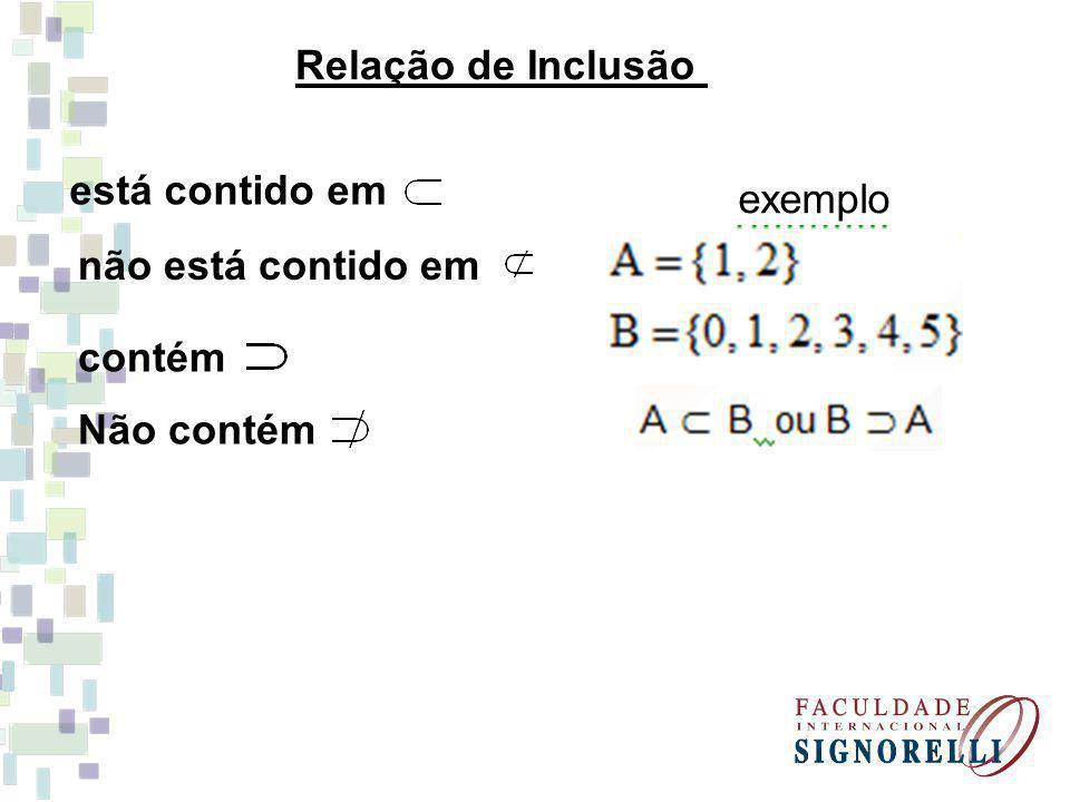 Conjunto das Partes Conjunto cujos elementos são subconjuntos Exemplo: Seja A = {1, 2, 3} P(A) = {Ø, {1}, {2}, {3}, {1, 2}, {1, 3}, {2, 3}, {1, 2, 3}} quantidade de elementos de P(A) : 2 n (onde n é a quantidade de elementos de A).