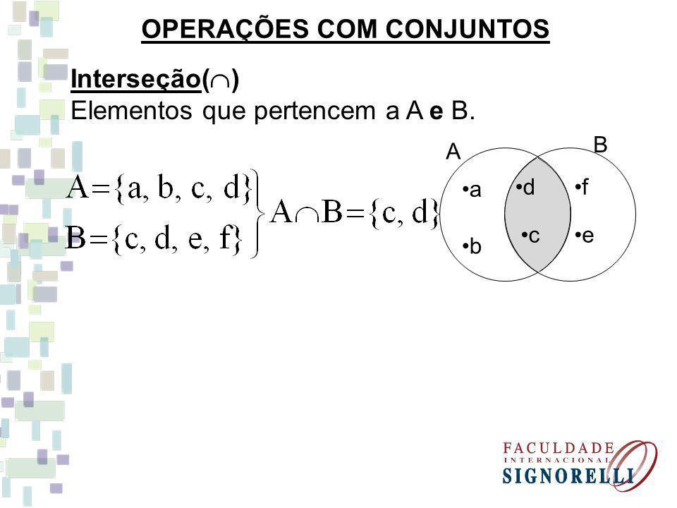 f B e A c d a b União ( ) elementos que pertencem a A ou B.