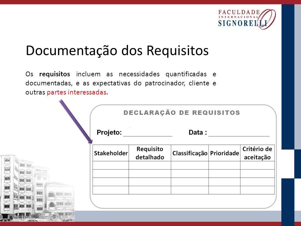Documentação dos Requisitos Os requisitos incluem as necessidades quantificadas e documentadas, e as expectativas do patrocinador, cliente e outras pa