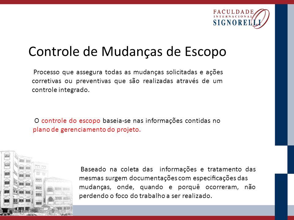 Controle de Mudanças de Escopo Processo que assegura todas as mudanças solicitadas e ações corretivas ou preventivas que são realizadas através de um