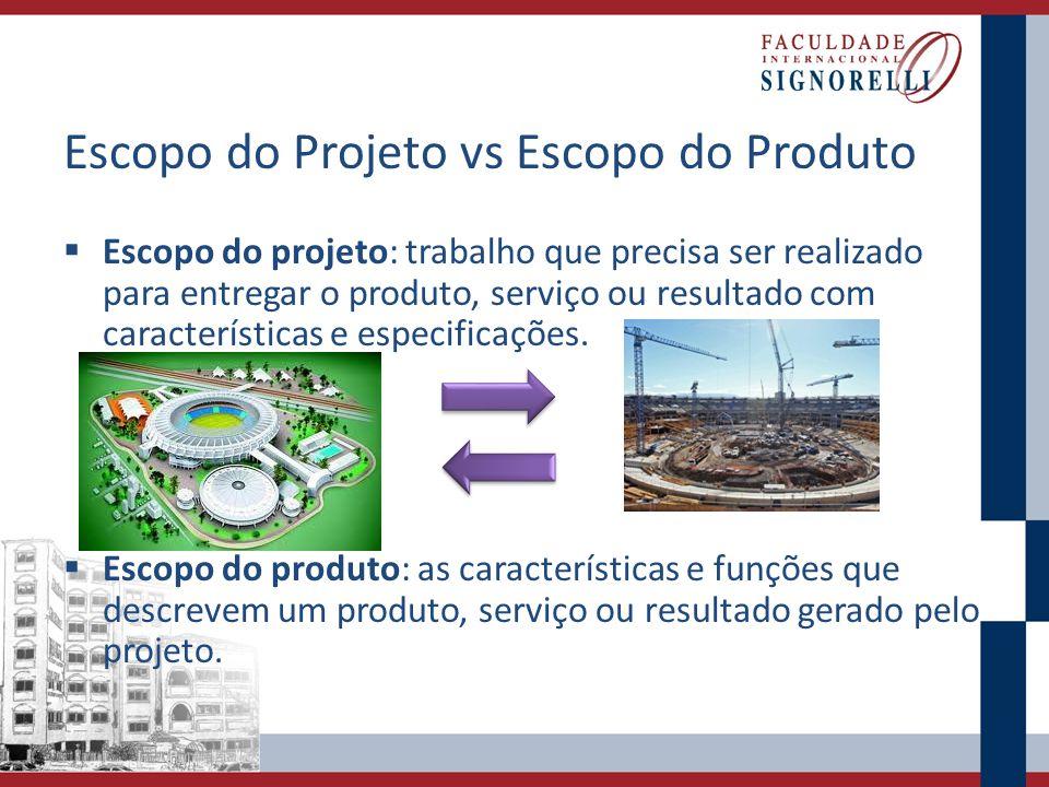 Escopo do Projeto vs Escopo do Produto Escopo do projeto: trabalho que precisa ser realizado para entregar o produto, serviço ou resultado com caracte
