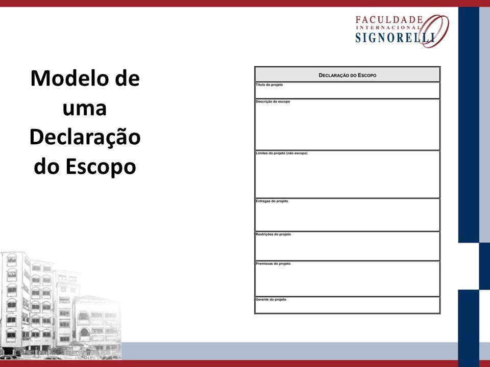 A Declaração do Escopo é uma referência para: Acordar, com os principais stakeholders, sobre o propósito e os objetivos do projeto.