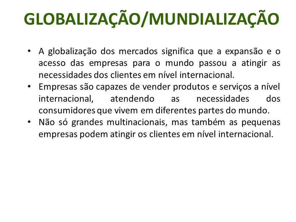 A globalização dos mercados significa que a expansão e o acesso das empresas para o mundo passou a atingir as necessidades dos clientes em nível inter