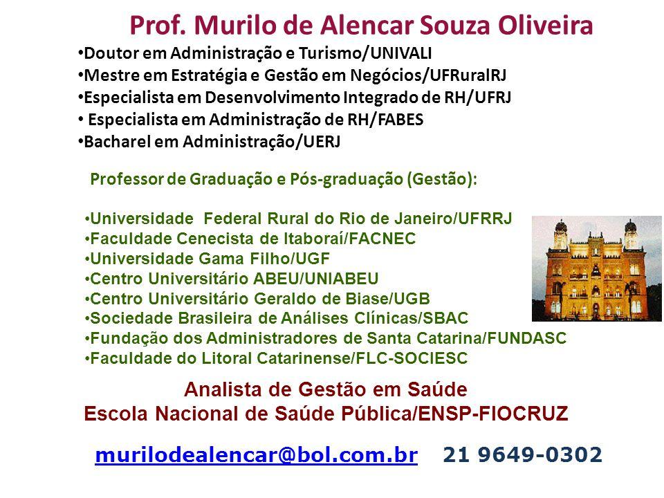 Prof. Murilo de Alencar Souza Oliveira Doutor em Administração e Turismo/UNIVALI Mestre em Estratégia e Gestão em Negócios/UFRuralRJ Especialista em D