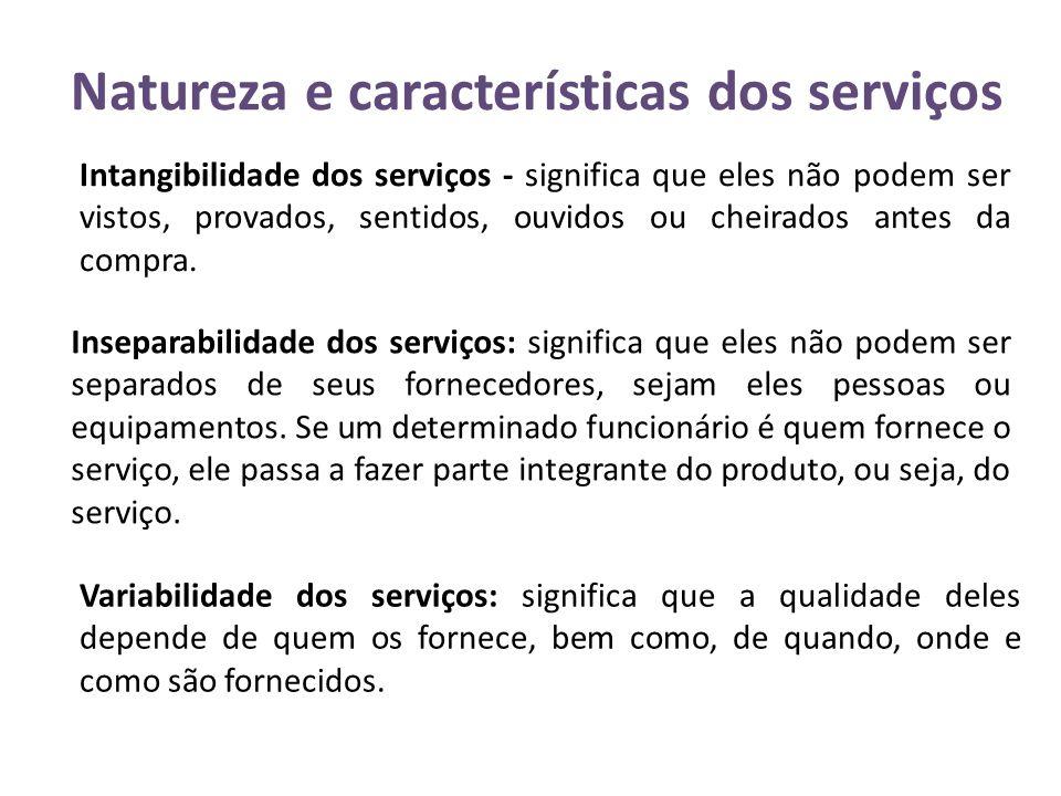 Natureza e características dos serviços Intangibilidade dos serviços - significa que eles não podem ser vistos, provados, sentidos, ouvidos ou cheirad