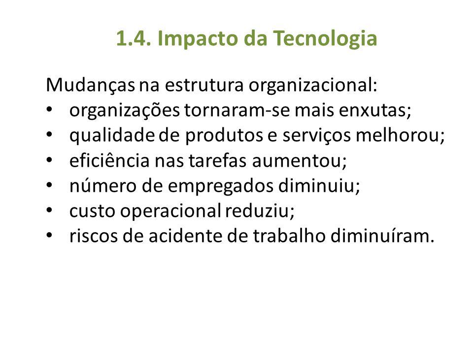 Mudanças na estrutura organizacional: organizações tornaram-se mais enxutas; qualidade de produtos e serviços melhorou; eficiência nas tarefas aumento
