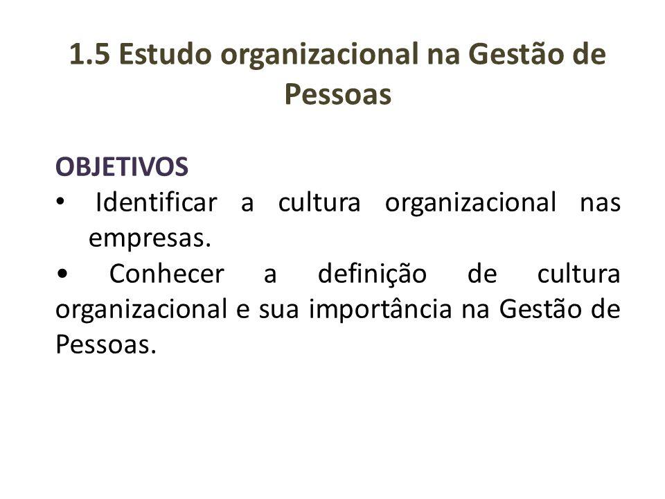 OBJETIVOS Identificar a cultura organizacional nas empresas. Conhecer a definição de cultura organizacional e sua importância na Gestão de Pessoas. 1.
