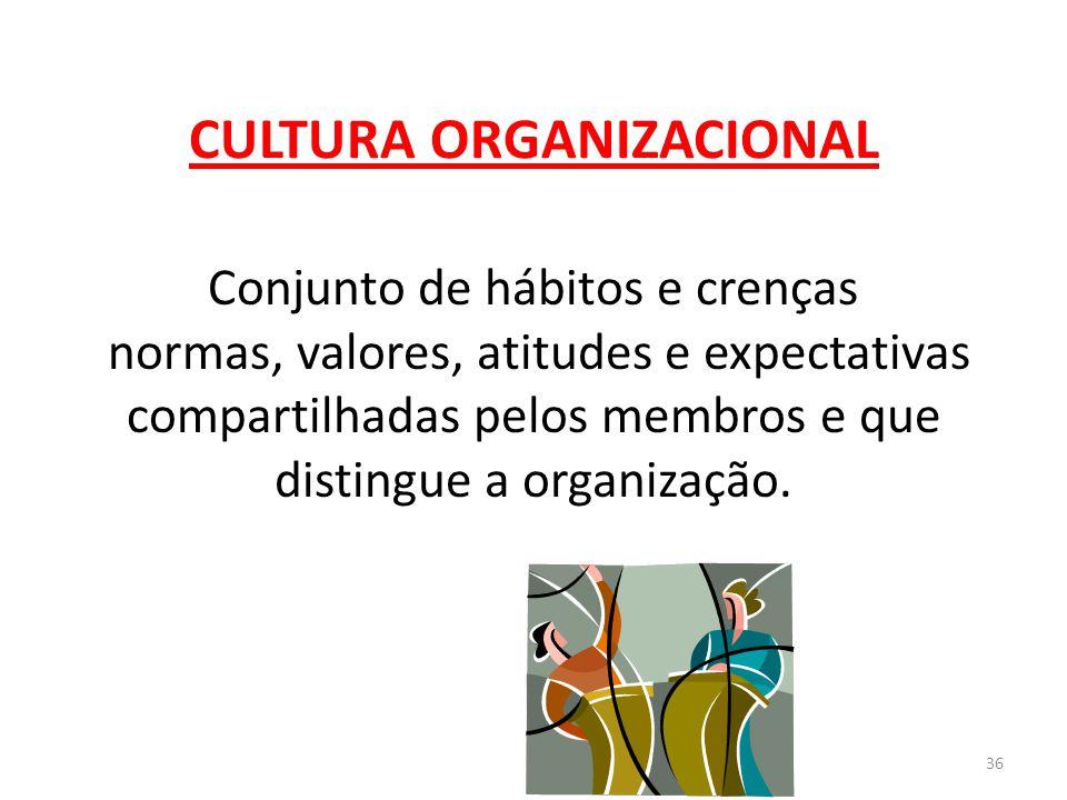 36 CULTURA ORGANIZACIONAL Conjunto de hábitos e crenças normas, valores, atitudes e expectativas compartilhadas pelos membros e que distingue a organi