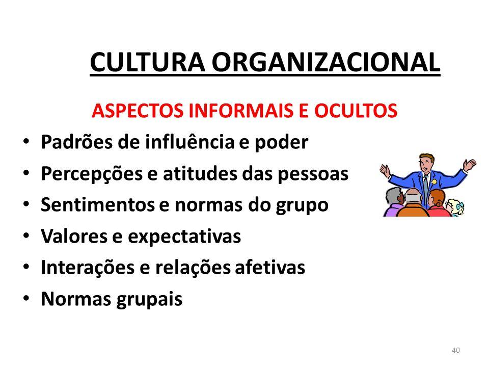 40 CULTURA ORGANIZACIONAL ASPECTOS INFORMAIS E OCULTOS Padrões de influência e poder Percepções e atitudes das pessoas Sentimentos e normas do grupo V