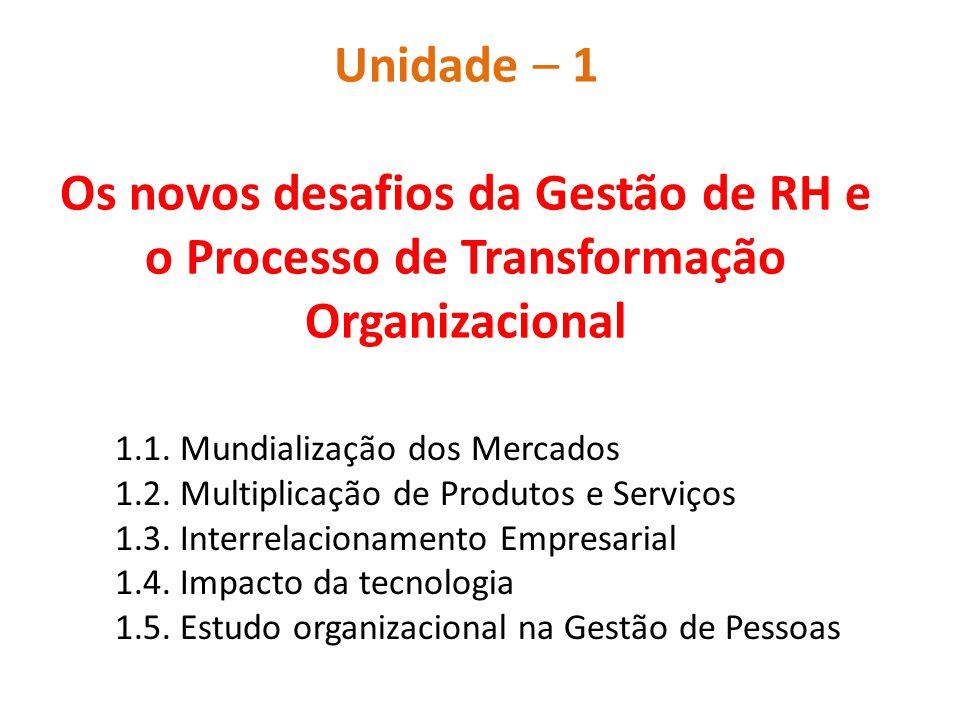 Unidade – 1 Os novos desafios da Gestão de RH e o Processo de Transformação Organizacional 1.1. Mundialização dos Mercados 1.2. Multiplicação de Produ