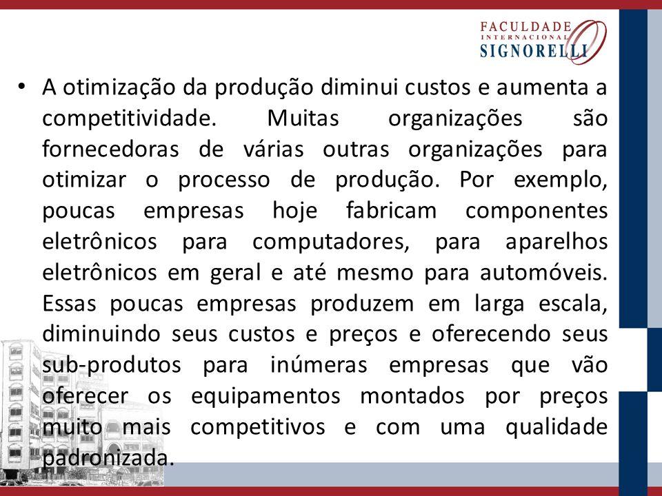 A otimização da produção diminui custos e aumenta a competitividade. Muitas organizações são fornecedoras de várias outras organizações para otimizar
