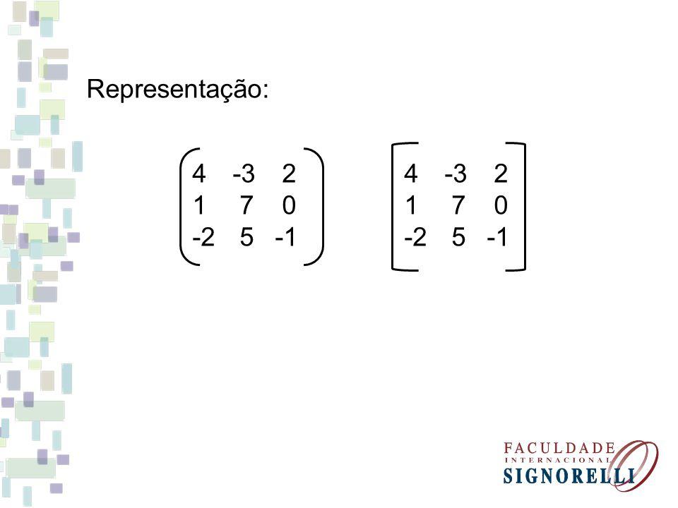 Identificação: 4 -3 2 1 7 0 -2 5 -1 linhas colunas