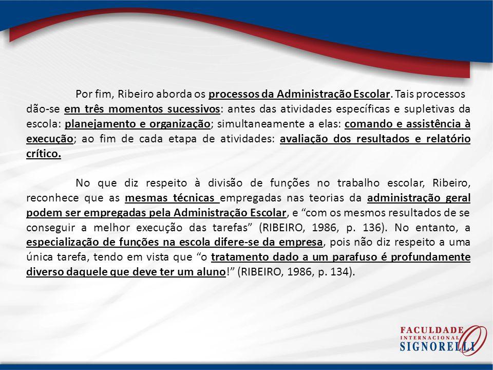 Por fim, Ribeiro aborda os processos da Administração Escolar. Tais processos dão-se em três momentos sucessivos: antes das atividades específicas e s