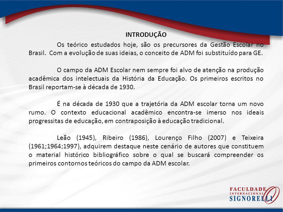 INTRODUÇÃO Os teórico estudados hoje, são os precursores da Gestão Escolar no Brasil. Com a evolução de suas ideias, o conceito de ADM foi substituído