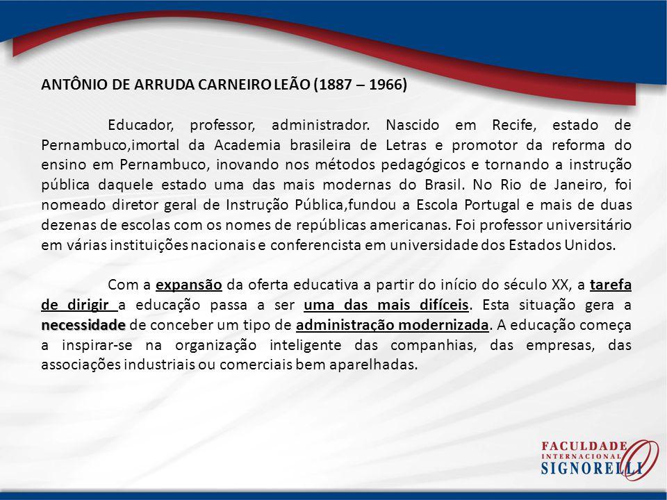 ANTÔNIO DE ARRUDA CARNEIRO LEÃO (1887 – 1966) Educador, professor, administrador. Nascido em Recife, estado de Pernambuco,imortal da Academia brasilei