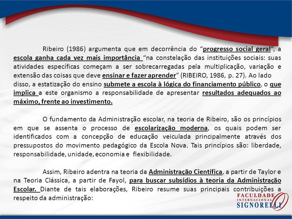 Ribeiro (1986) argumenta que em decorrência do progresso social geral, a escola ganha cada vez mais importância na constelação das instituições sociai