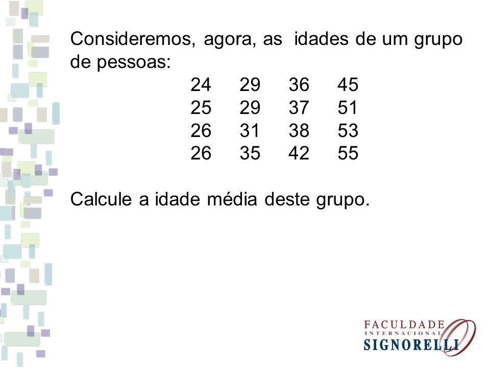 Consideremos, agora, as idades de um grupo de pessoas: 24293645 25293751 26313853 26354255 Calcule a idade média deste grupo.