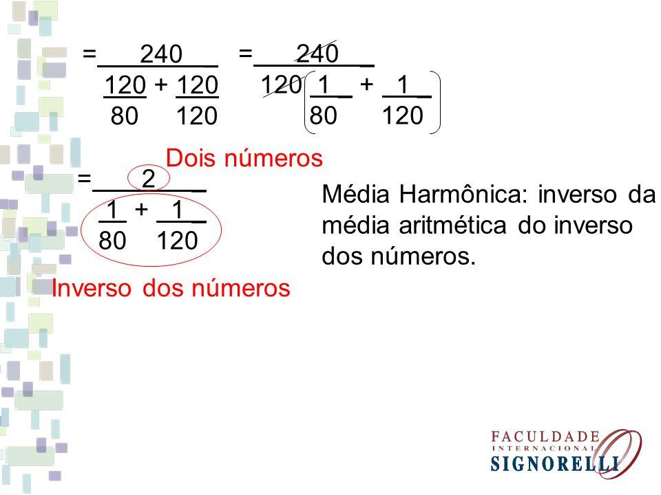 = 240 _ 120 + 120 80 120 = 240 _ 120 1 _ + 1 _ 80 120 = 2 _ 1 + 1 _ 80 120 Inverso dos números Dois números Média Harmônica: inverso da média aritméti