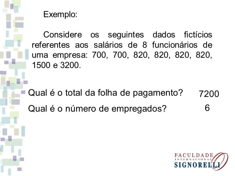Exemplo: Considere os seguintes dados ctícios referentes aos salários de 8 funcionários de uma empresa: 700, 700, 820, 820, 820, 820, 1500 e 3200. Qua