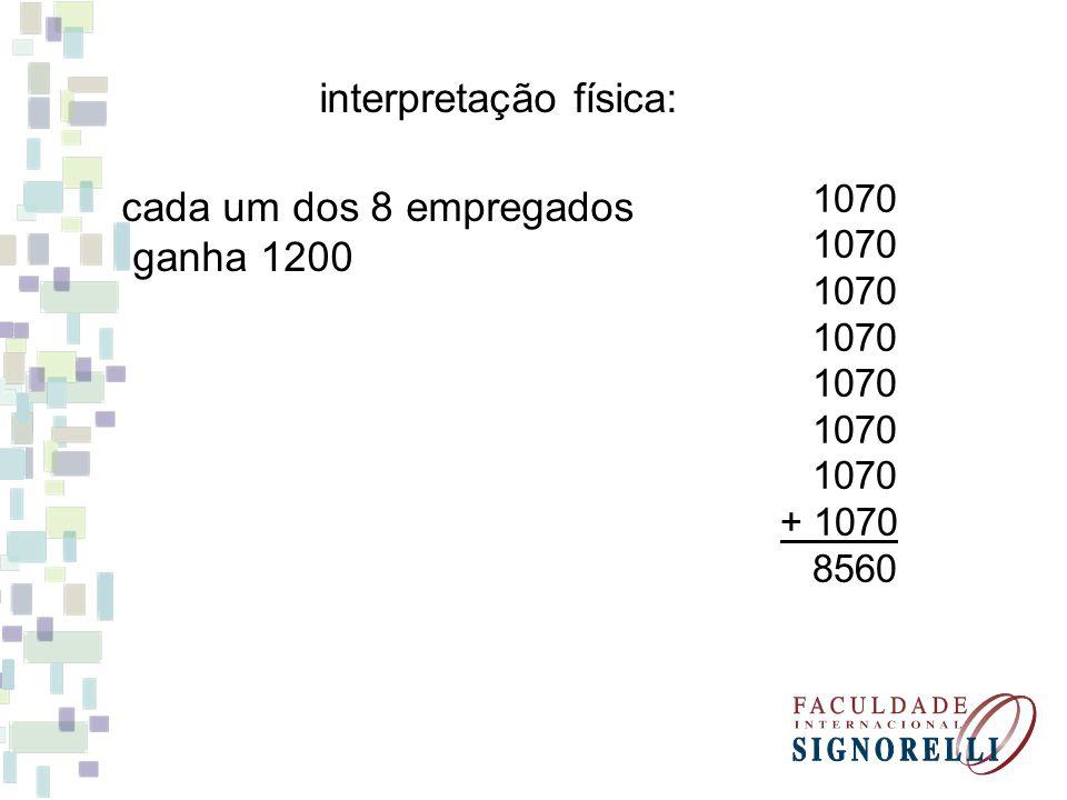 interpretação física: cada um dos 8 empregados ganha 1200 1070 + 1070 8560