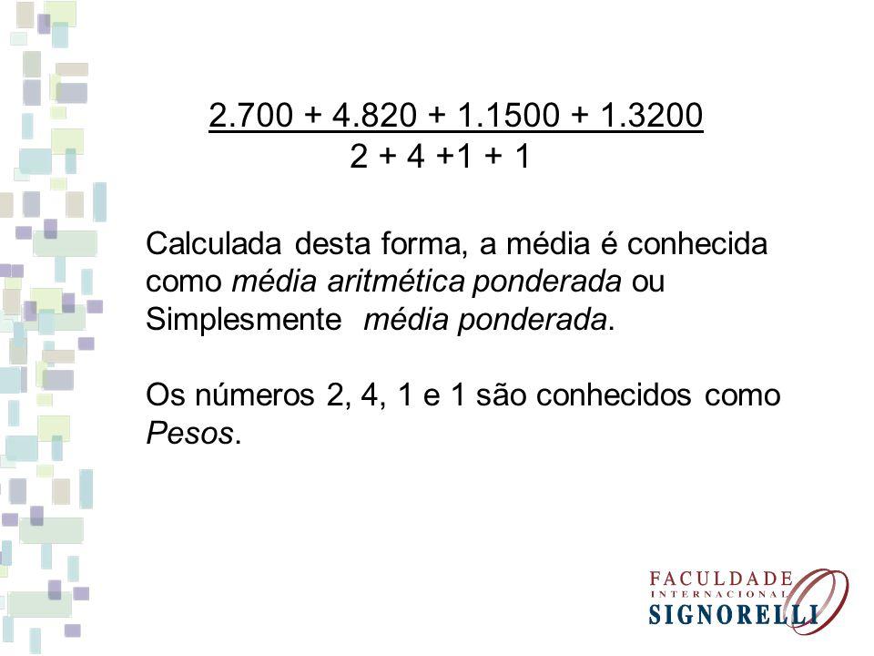 2.700 + 4.820 + 1.1500 + 1.3200 2 + 4 +1 + 1 Calculada desta forma, a média é conhecida como média aritmética ponderada ou Simplesmente média ponderad