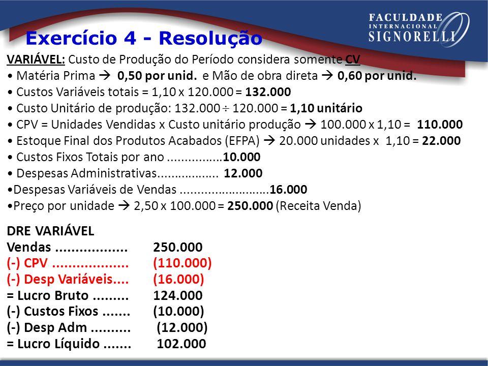 VARIÁVEL: Custo de Produção do Período considera somente CV Matéria Prima 0,50 por unid. e Mão de obra direta 0,60 por unid. Custos Variáveis totais =
