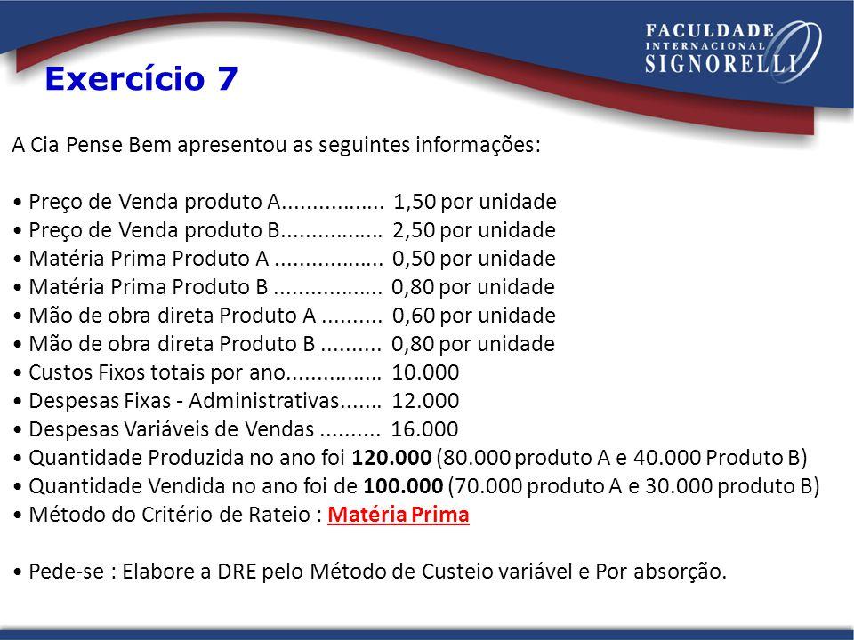 A Cia Pense Bem apresentou as seguintes informações: Preço de Venda produto A................. 1,50 por unidade Preço de Venda produto B..............