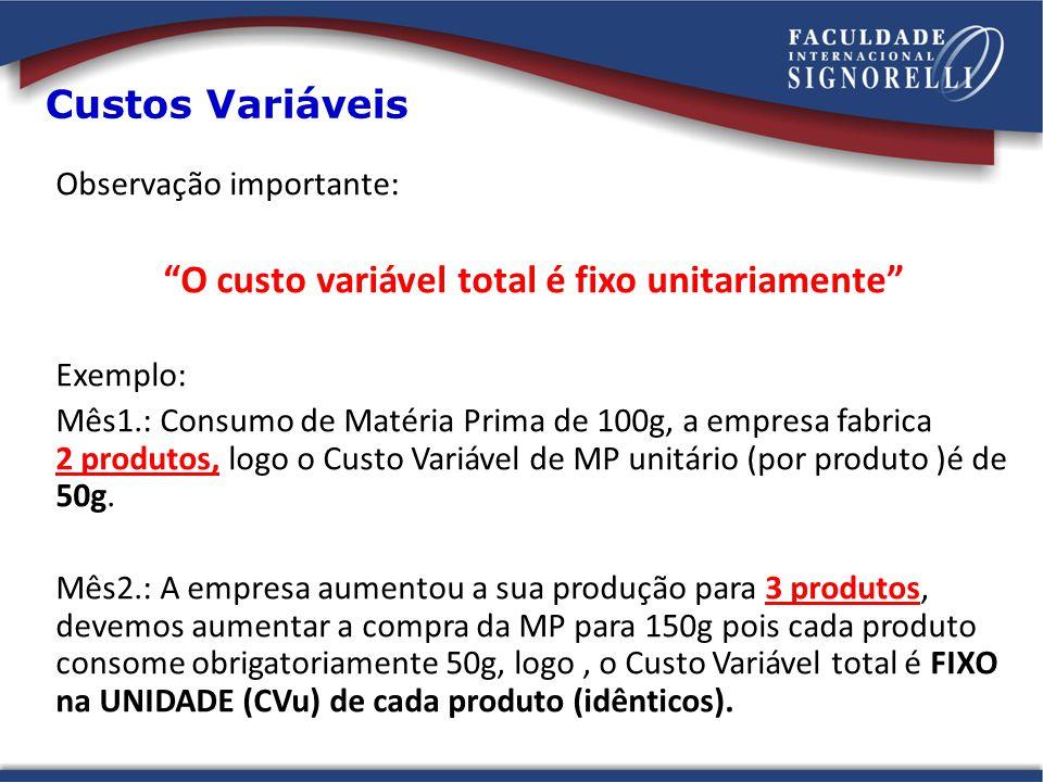 Custos Variáveis Observação importante: O custo variável total é fixo unitariamente Exemplo: Mês1.: Consumo de Matéria Prima de 100g, a empresa fabric