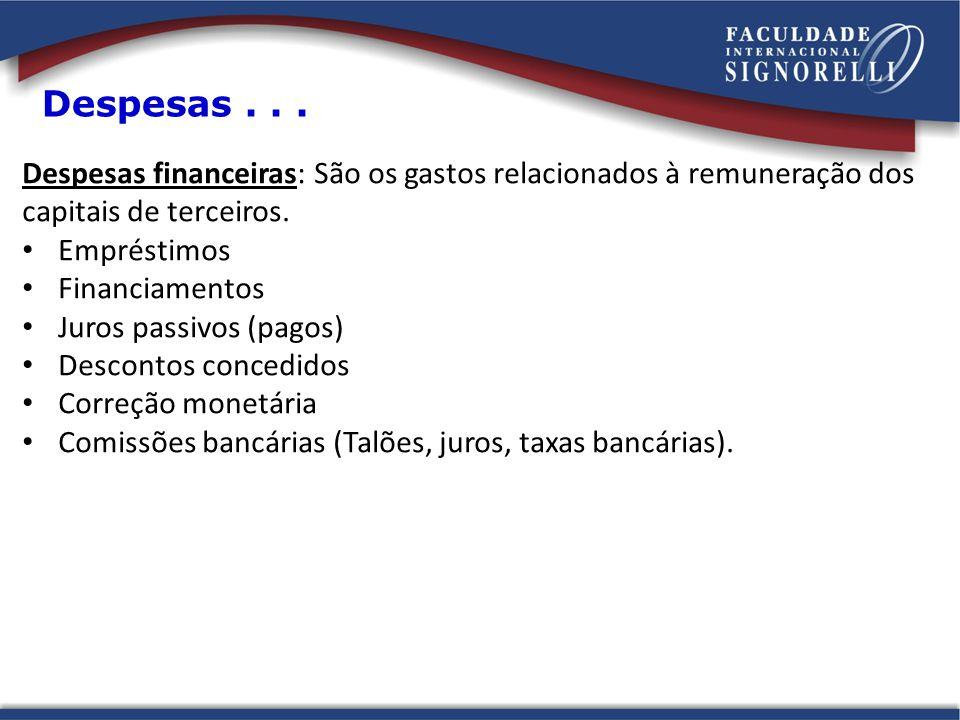 Despesas... Despesas financeiras: São os gastos relacionados à remuneração dos capitais de terceiros. Empréstimos Financiamentos Juros passivos (pagos